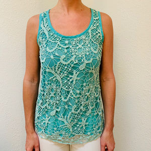 Body Central Scoop Neck Crocheted Tank Top